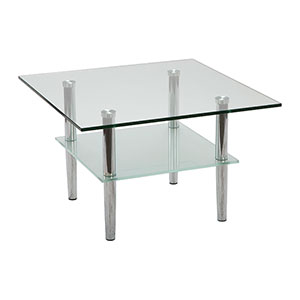 Bravo 2-Tier Square Chrome Coffee Table - Click for details