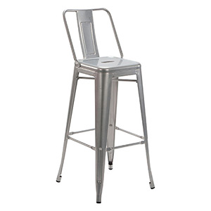 Tolix Stool Silver with Back - Click for details