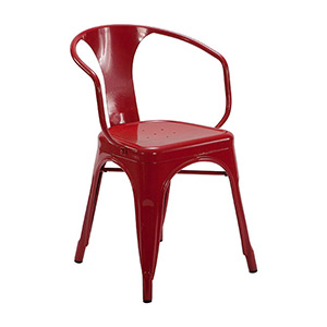 Tolix Chair Red with Arms - Click for details