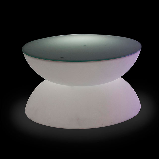 Led round coffee table for hire from well dressed tables london Led coffee table