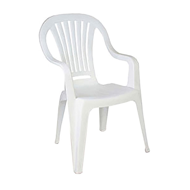 Plastic Patio Chair With Arms White For Hire From Well