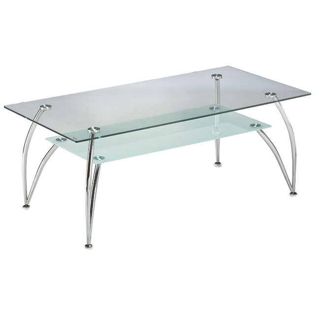 Bravo 2-Tier Oblong Chrome Coffee Table Glass For Hire