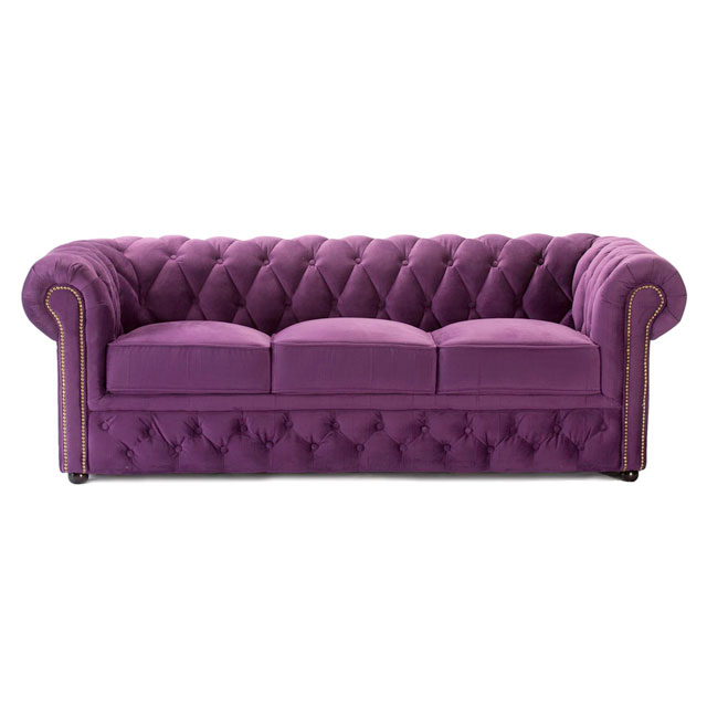 chesterfield 3 seat sofa purple fabric for hire from well