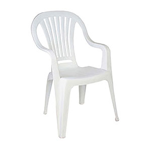 Plastic Patio Chair With Arms White For Hire From Well Dressed Tables London