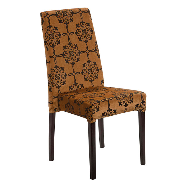 Picasso Highback Dark Wood Dining Chair Gold Pattern