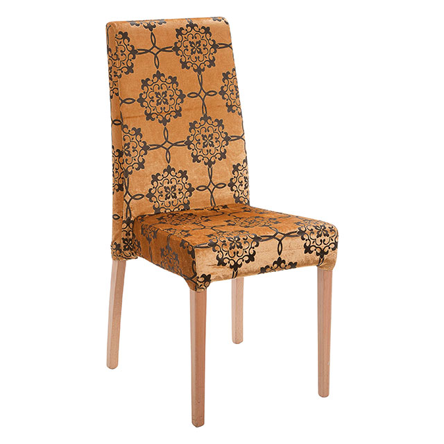 Picasso Highback Light Wood Dining Chair Gold Pattern
