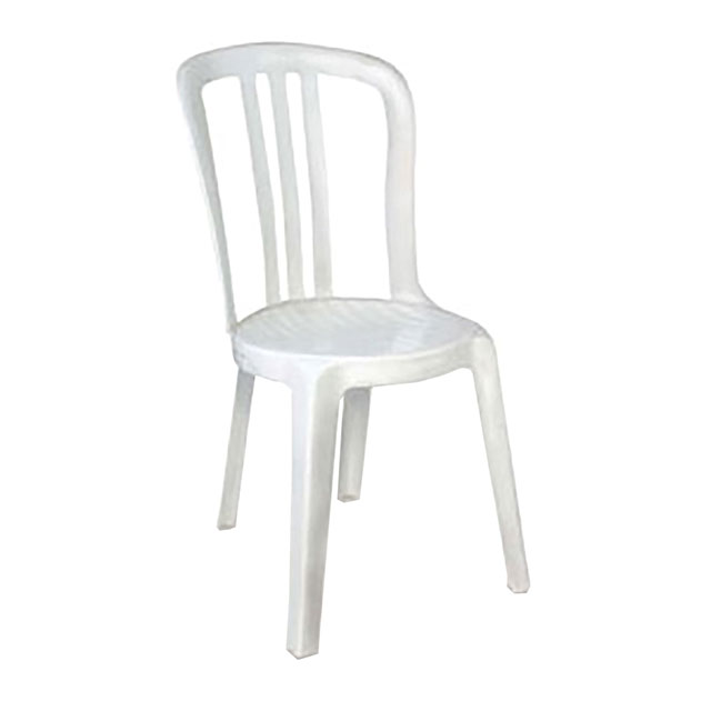 Plastic patio chair without arms white for hire from well for White garden chairs