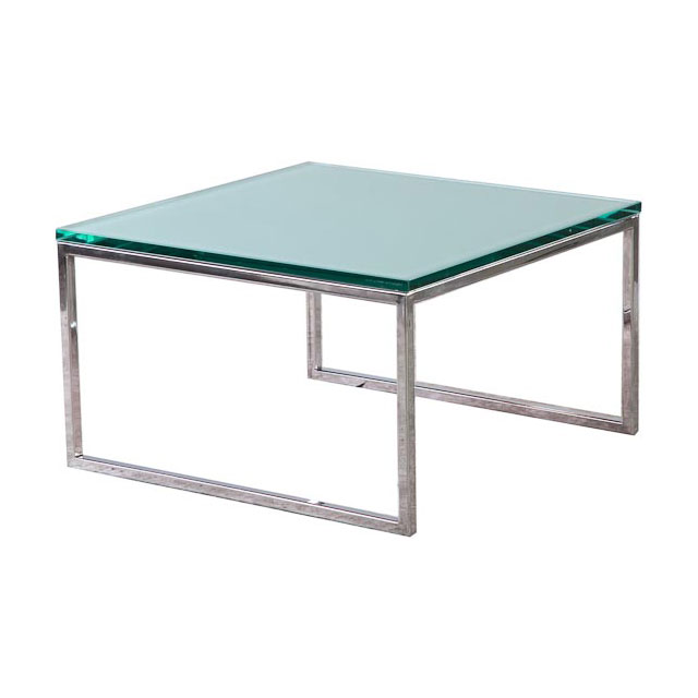 Chrome Coffee Table with Clear Glass Top