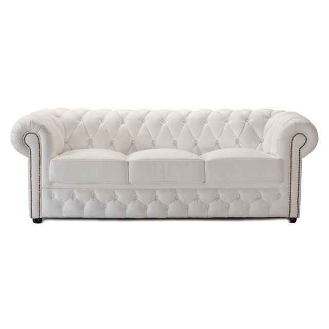 Elegant Chesterfield 3 Seat Sofa White Leather