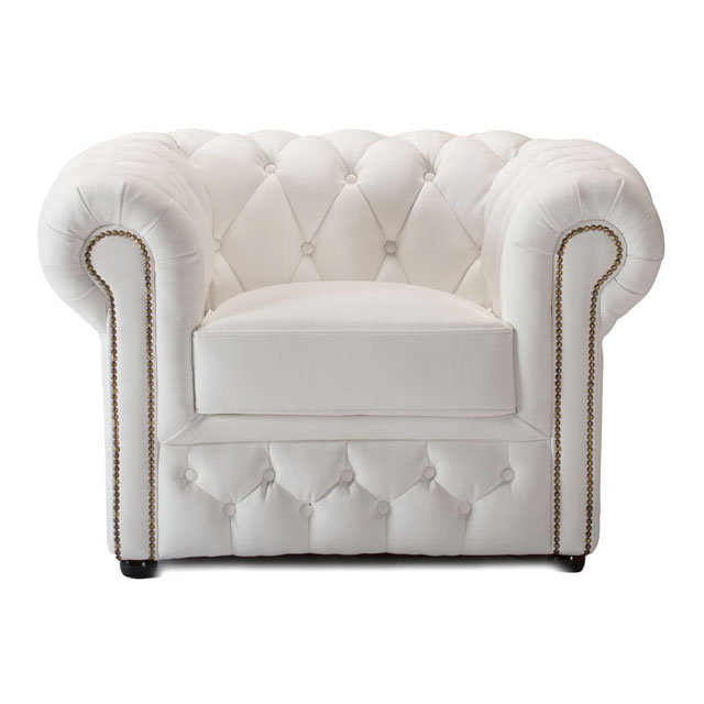 Chesterfield Armchair White Leather For Hire From Well