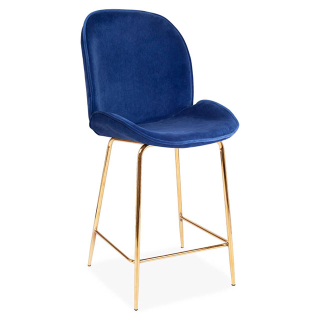 Blue Velour Stool with Gold Legs