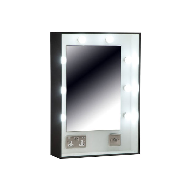 Make Up Mirror Black with 13a Socket USB