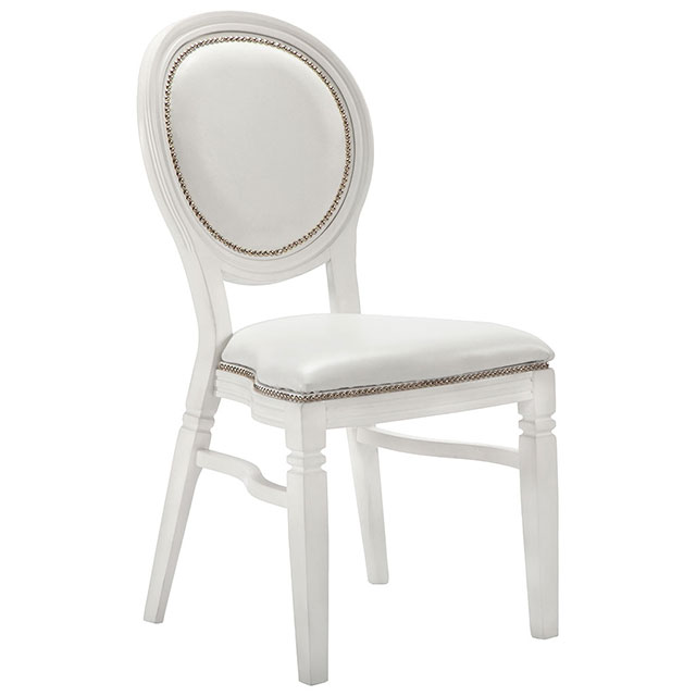 Clarmont Chair White with White Seat Pad