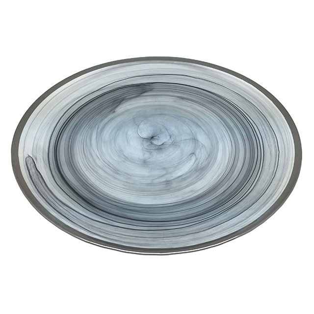 Black Alabaster Plate with Silver Edge