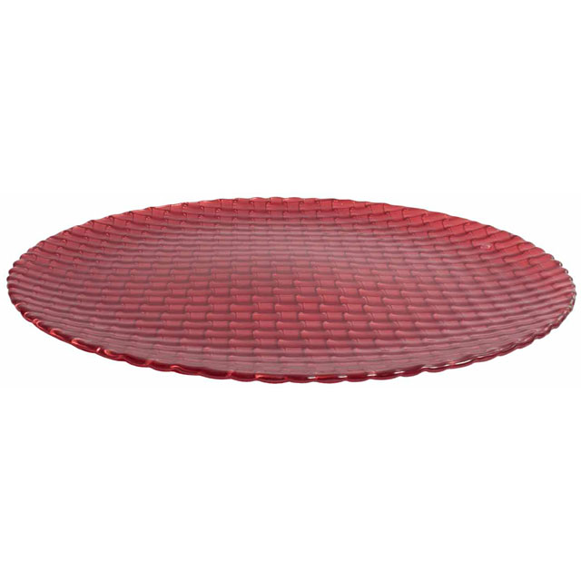 Glass Braid Canapé Plate Red